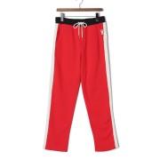 【56%OFF】サイドライン 裾ジップ イージーパンツ レッド/オフホワイト f ファッション > メンズウエア~~パンツ