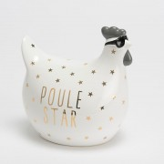 Poule star porcelaine blanche étoilée