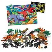 55-Piece Plastic Jumbo Dinosaurs Bucket & 100-Piece Floor Puzzle Dinos Glow In The Dark, Interactive Learning, Tactile, Language & Coordination, Motor Skills, Build & Create, Kids Pretend Play