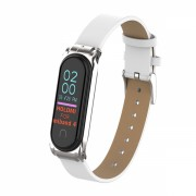 Curea din piele ecologica pentru bratara fitness Xiaomi Mi Band 3 / 4 , alb
