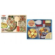 Melissa & Doug Wooden Playsets Bundle - Flip and Serve Pancake Set with Pizza Party Set - Ages 3 and Up - Imaginative Fun