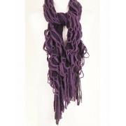 Paarse los gebreide sjaal met stretch effect