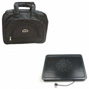 TechVik Combo Of 2 In 1 Laptop Bag With Cooling pad