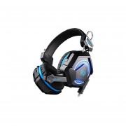 Audífonos Gamer, GS210 Gaming Auricular Del Juego USB 3.5mm LED Luz Colorido Respirar Auricular (negro Azul)