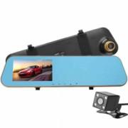 Camera Auto Oglinda iUni Dash N8 Dual Cam Display 4.3 inch Full HD Night Vision WDR 140 grade by Anytek Bonus Bratara Roca Vulcanica unisex
