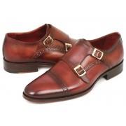 Paul Parkman Cap Toe Double Monk Strap Shoes Camel & Light Brown 0457-CML