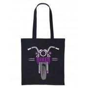 1- Purple black motorcycle bike nutshell black tote canvas shoulder shopping bag