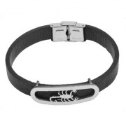 Sullery Biker And Sport Wristband Scorpio Sign Leather Stainless Steel Wristband Adjustable Bracelet Silver & Black Leather & Stainless Steel Bracelet For Men And Women