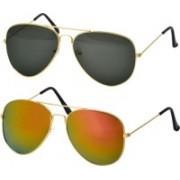 Freny Exim Aviator Sunglasses(Green, Golden)