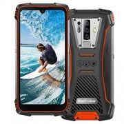 Blackview Teléfonos resistentes 4G desbloqueados, BV6900 (2020) IP68 resistente al agua, Android 9.0 Octa-core 4 GB + 64 GB ROM, 16 MP cinco cámara 5.8 pulgadas FHD+ pantalla IPS 5580 mAh NFC, GPS, OTG, WiFi-naranja