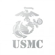 Metallic USMC EGA Sticker marines marine corps earth globe anchor - Silver