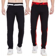 Cliths Trackpants for Men stylish Pack of 2 Cotton Joggers/ Yoga Pants (Black White Black Red)