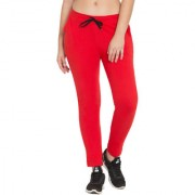 Cliths Women's Active Yoga Lounge Sweat Pants with Pockets| Red Cotton Track Pants for Women