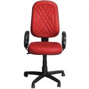 Cadeira Presidente Classic Vermelha Giratória com Regulagem e Braço de Apoio - Pethiflex