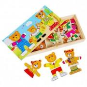 Puzzle imbraca ursuletii familia de 3 ursuleti