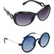 Hrinkar Over-sized Sunglasses(Grey, Blue)