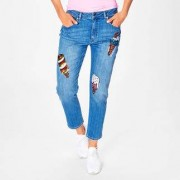 Love Moschino Cropped ice-cream-Jeans, 38 - Mid-Blue