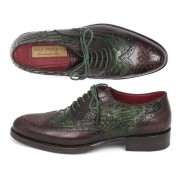 Paul Parkman Genuine Python Goodyear Welted Calfskin Wingtip Oxford Shoes Green & Brown 27PT-GRNBRW