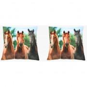 Merkloos 2x Sierkussentjes met paarden print 35 cm