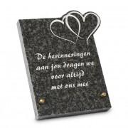 Gedenksteen 17x21cm met Dubbel Hart: De herinneringen aan jou