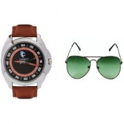 CALIBRO Men's Black-Brown watch Green Aviator Sunglass