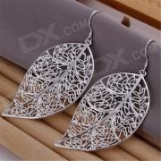Pendientes de plata de moda en forma de hoja de plata plateada - plata (par)