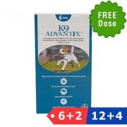 K9 Advantix Medium Dogs 11-20 Lbs (Aqua) 6 Dose + 2 Doses Free