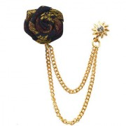 Sullery Wedding Rose Flower Gold Chain Leaf Corsage Lapel Pin Brooches For Men Boys