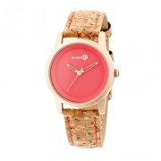 Earth Wood Canopies Leather-Band Watch - Rose Gold/Red ETHEW2904