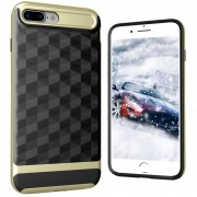 Louiwill KOBWA Para IPhone 7 Plus Funda, 2 En 1 Soft 3D Rhombus Drawing TPU + PC Funda Protectora Para Teléfono Trasera Shell, Anti-shock Antideslizante Anti-dirty Skin Completa Para Apple IPhone 7 Plus - Dorado