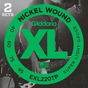 DAddario EXL220TP Nickel Wound Bass Guitar Strings Super Light 40-95 2 Sets Long Scale