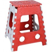 Ankur Foldable Plastic Stool for Stepping Up or Sitting Red (18 inch Stool)