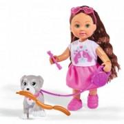 Papusa Simba Evi Love 12 cm Holiday Friend cu catelus si accesorii