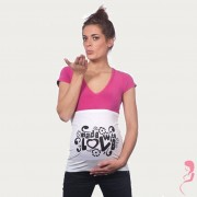 Op en Top Zwanger Zwangerschaps Buikband Made With Love Wit
