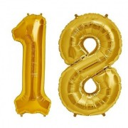 De-Ultimate Solid Golden Color 2 Digit Number (18) 3d Foil Balloon for Birthday Celebration Anniversary Parties