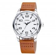 Mens SINOBI Relojes De Primeras Marcas De Lujo De Alta Calidad Los Hombres De Cuero De Diseño De Moda Reloj De Pulsera De Cuarzo Del Negocio Del Reloj