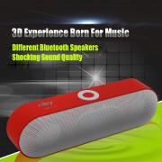 NBY-S18 Bluetooth Speaker HiFi 3D Stereo Wireless Portable Sound Box Mic Hands Free AUX TF FM USB Subwoofer - Red
