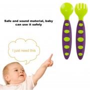 EB Ajuste De La Horquilla De Cuchara Formación Bebé Niños Seguridad Utensilio De Vajilla Para El Bebé Lactante - Verde Púrpura