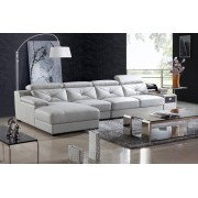 items-france TEMA - Canape contemporain d´angle cuir 5 places 366x170x102
