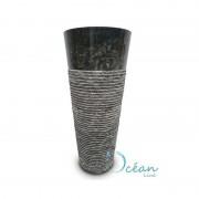 Océan Line Colonne, Vasque sur pied en marbre brut noir - Naga