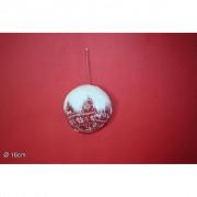 Decorazione natalizia palla tessuto con pelliccia 16cm 416170