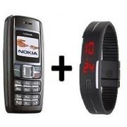 Refurbished Nokia 1600 Black with LED watch (1 Year Warranty By Warranty Plaza )