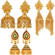 All 3 Combo of Small Light Weight Jhumki Earrings in Gold Color Plating For Everyday Use Women Girls By GoldNera