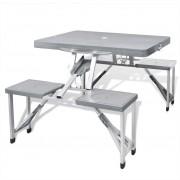 Алуминиев сгъваем къмпинг комплект от 1 маса и 4 стола