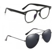 Natural Creation Wayfarer, Aviator Sunglasses(Clear, Black)