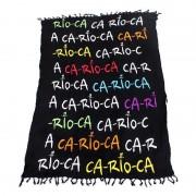 CA-RIO-CA Rainbow Text Cangas De Praia Sarong Pareo Brazilian Beach Towel Black CRC-C102001