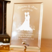 Homokfúvott esküvői plakett
