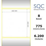 Etichette SQC - polipropilene lucido (bobina), formato 102 x 102