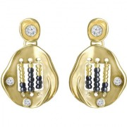 Spargz Gold AD Stone Casual Black & Yellow Beads Dangle Earrings For Women & Girls AIER 1148