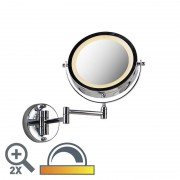 QAZQA Round makeup wall mirror chrome on batteries x2 - Vicino